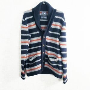 Woolrich Felted Lambswool Striped Cardigan Sweater